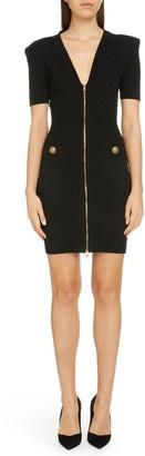 Balmain Zip Front Diamond Stitch Dress