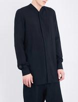 Rick Owens Collarless wool and silk-blend shirt