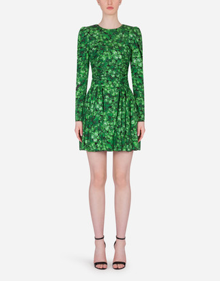 Dolce & Gabbana Short Circle-Skirt Dress In Four-Leaf Clover Print Charmeuse
