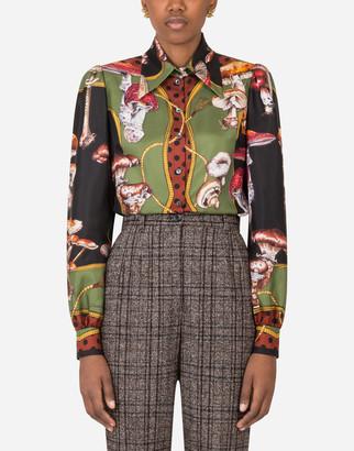Dolce & Gabbana Mushroom Print Shirt In Twill