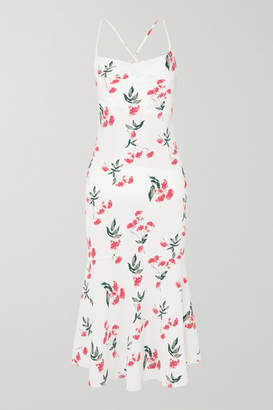 The Line By K - Robi Tie-detailed Floral-print Crepe De Chine Dress - Cream