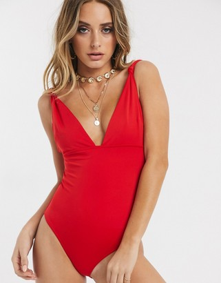 Asos Design DESIGN sculpt me knot strap control swimsuit in red