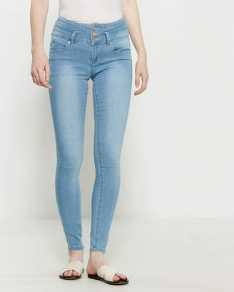 YMI Jeanswear Light Wash Wanna Betta Butt High-Rise Jeans
