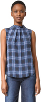 Rebecca Taylor Sleeveless Plaid Mock Neck Top