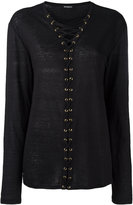 Balmain crossed lace-up top - women - Linen/Flax - 36