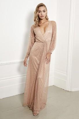 Sistaglam Daisianne rose gold embellished long sleeve wrap maxi dress