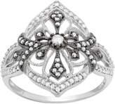 3/8 Carat T.W. Diamond Sterling Silver Flower & Cross Ring