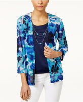 Alfred Dunner Petite Layered-Look Floral Top with Necklace