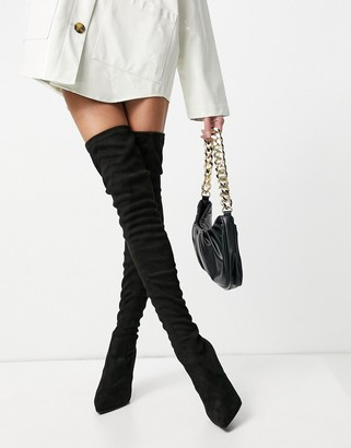 Steve Madden Dominique black stretch over the knee heeled boots