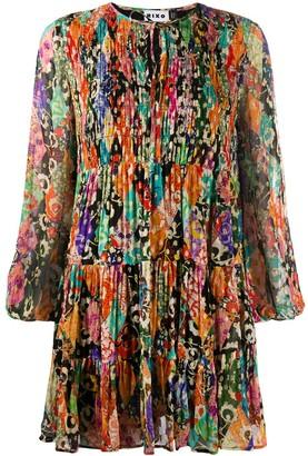 Rixo Flared Ruched Floral Print Dress
