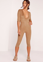 Missguided Faux Suede Short Sleeve 3/4 Leg Unitard Romper Tan