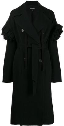Ann Demeulemeester Ruffled Sleeve Trench Coat