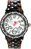 Betsey Johnson Women's Cherry Printed Black & White Polka Dot Bracelet Watch 40mm BJ00482-14