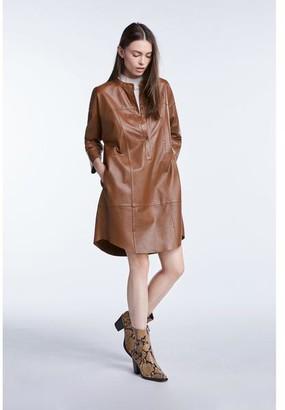 Set Fashion - Toffee Leather Dress - 38