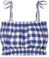 MDS Stripes Cropped Gingham Fil Coupé Cotton Top - Blue