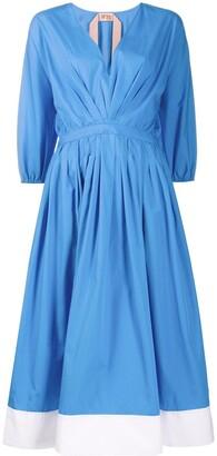No.21 contrast-hem V-neck dress