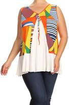Fashion Stream Womens Plus Size Sleeveless Printed Top MADE IN USA