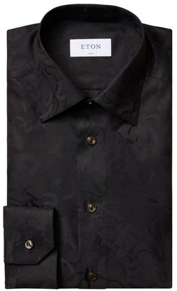 Eton Slim-Fit Black Floral Jacquard Dress Shirt