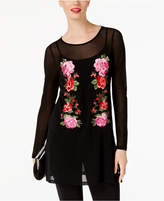 INC International Concepts Embroidered Mesh Tunic, Created for Macy's