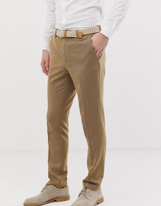 ASOS DESIGN wedding skinny suit trousers in camel twill