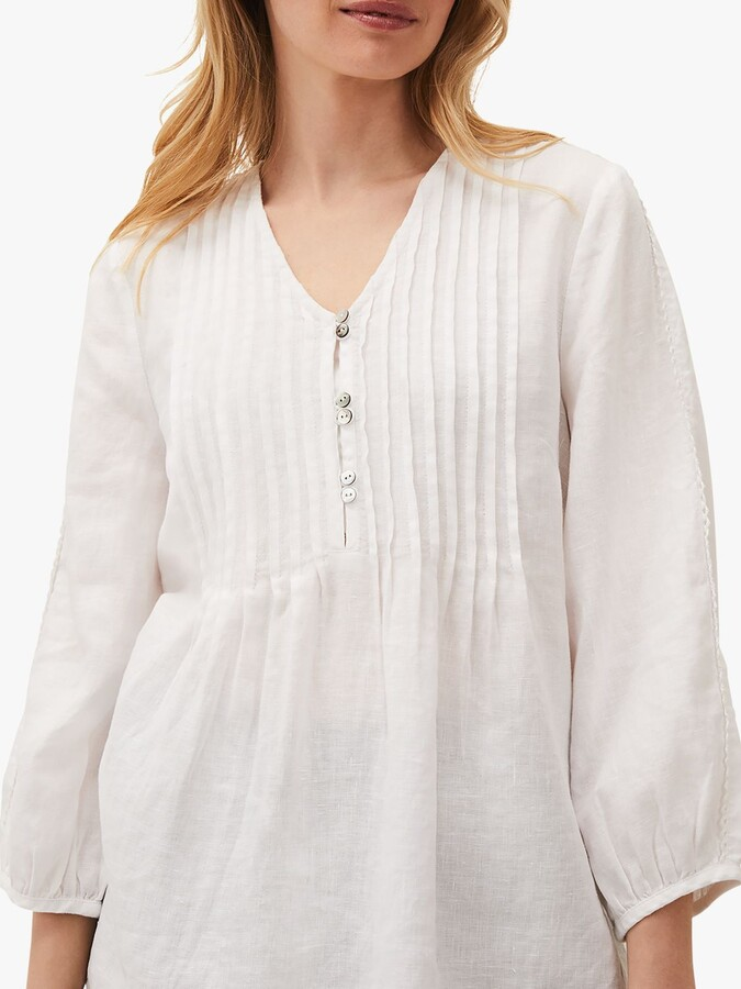 Thumbnail for your product : Phase Eight Brianne Linen Pintuck Blouse, White