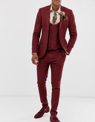 Asos Design DESIGN wedding super skinny suit pants in micro texture burgundy-Red