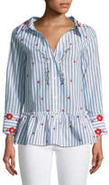 Alice + Olivia Ashlyn Button-Down Floral-Embroidered Striped Peplum Top