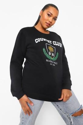 boohoo Plus Country Club Varsity Slogan Sweatshirt
