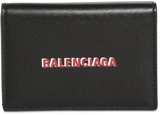 Balenciaga Double Logo Print Leather Mini Wallet