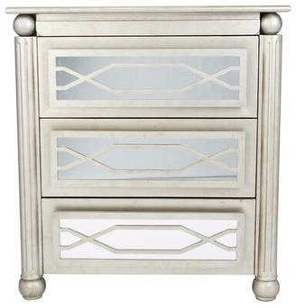 Canora Grey Gavina 3 Drawer Mirrored Accent Chest Color: Antique Silver/Gold