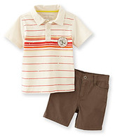 Calvin Klein Jeans Boys' 2T-7 Brown 2-pc. Striped Polo Shorts Set