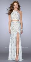 La Femme Multi Color Rhinestone Lace Up Back Two Piece Prom Dress