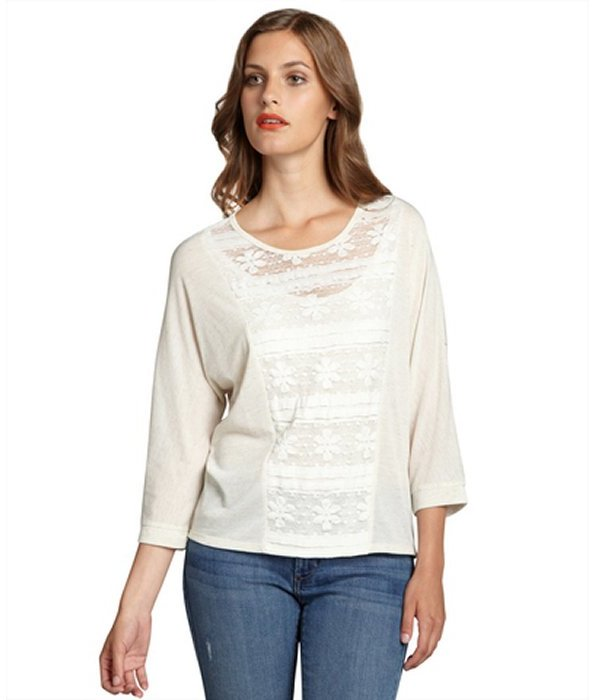 The Cue cream cotton lace dolman three quarter sleeve top