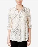 Kensie Stop & Go Roll-Tab-Sleeve Printed Shirt