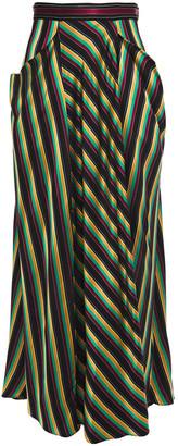 3.1 Phillip Lim Draped Striped Satin Maxi Skirt