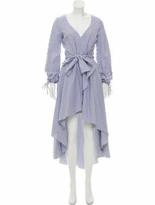 Caroline Constas Striped Maxi Dress white