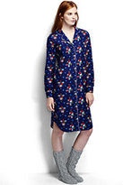 Classic Women's Petite Patterned Flannel Nightshirt-Patriot Blue Present Trees