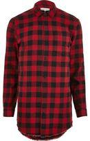 River Island MensRed casual check longline shirt