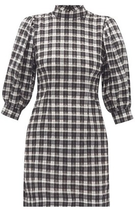 Ganni Puff-sleeve Cotton-blend Gingham-seersucker Dress - Womens - Black White
