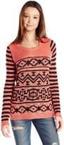 PinkRose PINK ROSE Women's Aztec Stripe Print Pullover Sweater