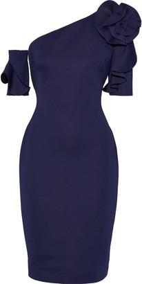 Badgley Mischka One-shoulder Floral-appliqued Neoprene Dress