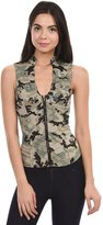 Lydia USA Sexy Female Military Camouflage Vest Jacket Cross-cut Out Back Side (L-Olive,)