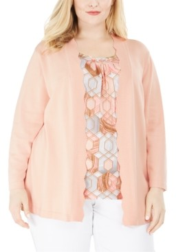 Alfred Dunner Plus Size Boardroom Layered-Look Cardigan Top