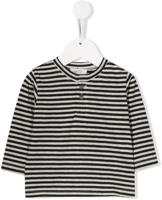 Aletta Striped Button-Neck Top