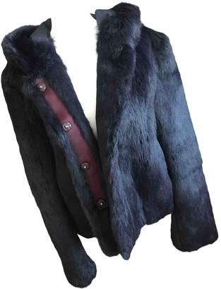 Sandro Navy Rabbit Coat for Women