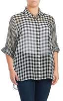 Calvin Klein Plus Sheer Checkered Blouse