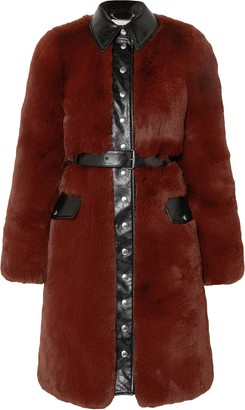 Sonia Rykiel Belted Faux Leather-trimmed Faux Fur Coat