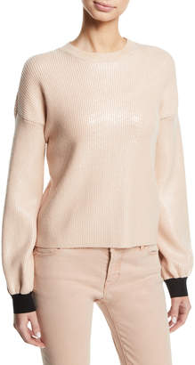 Emporio Armani Crewneck Ribbed Pullover Sweater w/ Metallic Coating