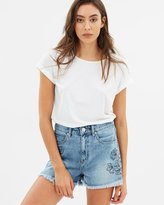 DECJUBA Reese Embroidered Denim Shorts