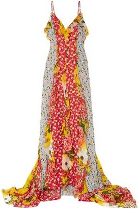 Carolina Herrera Patchwork-effect Draped Printed Fil Coupe Chiffon Gown